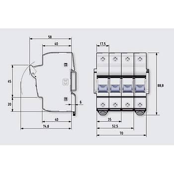 10x38mm 1P Monofaze Kartuþ Sigorta Yuvasý 485101 DF