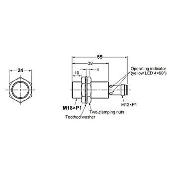 E2B-M18KS08-M1-B1 M18 PNP/NO 8mm Algýlama M12 Konnektörlü Ýndüktif Sensör OMRON