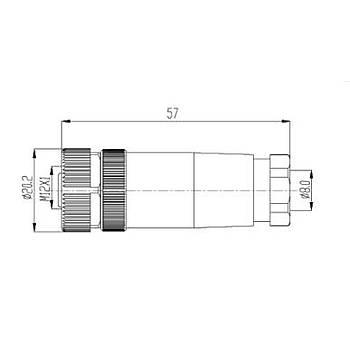 M12 8 Pinli Seyyar Düz Diþi Konnektör M12PG-8A MAOJWEI