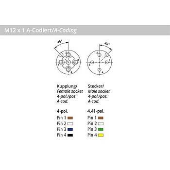 M12 4 Pinli 2m Kablolu Düz Konnektör 43-10020 CONEC