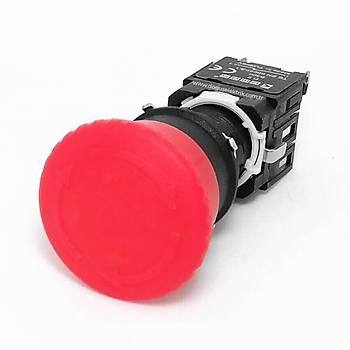 D200YE30K 16mm 1NK Kontaklý Mantar Kalýcý Acil Stop Butonu EMAS
