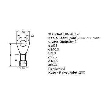 GYU-502 M5 Delikli 1,50-2,50mm² Kablo Pabucu (200 adet) GWEST
