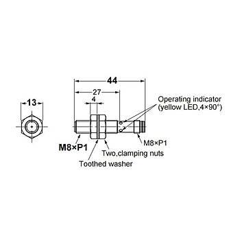 E2B-S08KS02-MC-C1 M8 NPN/NO 2mm Algýlama M8 Konnektörlü Ýndüktif Sensör OMRON