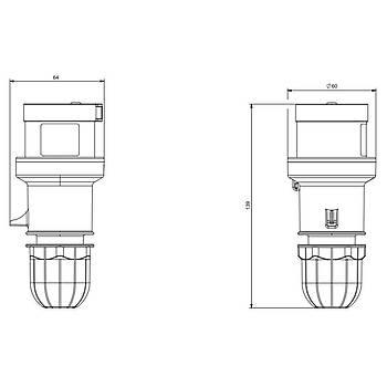 4x16A CEE Norm Trifaze Düz Fiþ 213.1636 SCAME