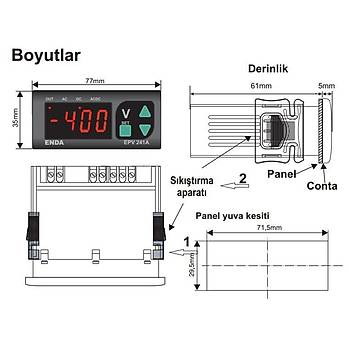EPV241A-SM Dijital AC/DC Voltmetre ENDA