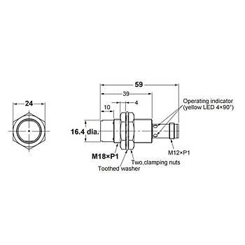 E2B-M18KN16-M1-B1 M18 PNP/NO 16mm Algýlama M12 Konnektörlü Ýndüktif Sensör OMRON