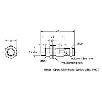E2A-M12KN08-M1-C1 M12 8mm NPN/NO 8mm Algýlama M12 Konnektörlü Ýndüktif Sensör OMRON