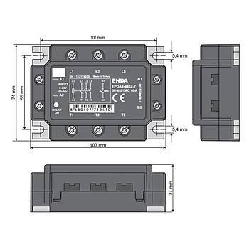 EPDA3-440Z 40A Trifaze Solid State Röle (SSR) ENDA