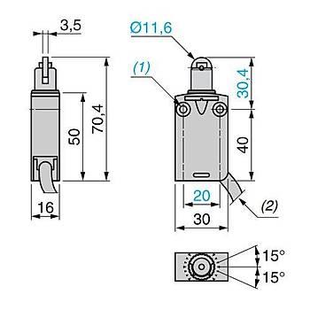 XCMD2102L1 Çelik Makaralý Pimli Kablolu IP67 Limit Siviç SCHNEIDER