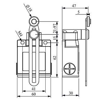 L53K13MEP123 18mm Plastik Makaralý Ayarlanabilir Uzun Kollu Limit Switch EMAS