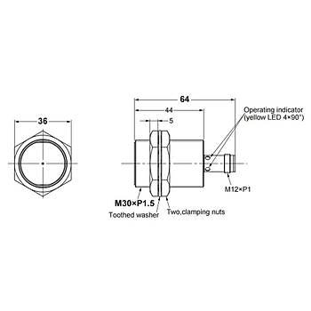 E2B-M30KS15-M1-B1 M30 PNP/NO 15mm Algýlama M12 Konnektörlü Ýndüktif Sensör OMRON