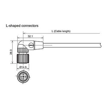 M12 4 Pinli 5m Kablolu 90 Derece Konnektör XS2F-LM12PVC4A5M OMRON