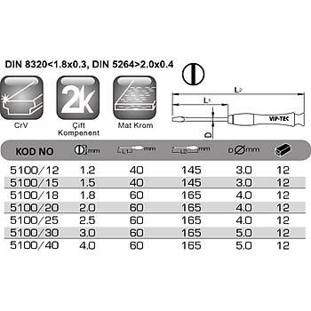 4.0x60mm Düz Uçlu Mikro Tornavida VT 5100/40 VIP-TEC