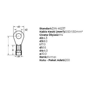 GYU-401 M4 Delikli 0,50-1,50mm² Kablo Pabucu (200 adet) GWEST