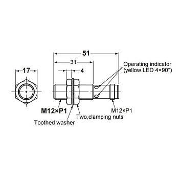 E2B-M12KS04-M1-C1 M12 NPN/NO 4mm Algılama M12 Konnektörlü İndüktif Sensör OMRON