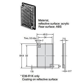 E39-R1S 40x60mm Reflektör OMRON