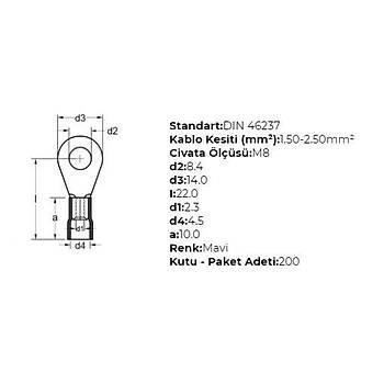 GYU-802 M8 Delikli 1,50-2,50mm² Kablo Pabucu (200 adet) GWEST