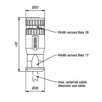 M12 8 Pinli Düz Tip Diþi Sensör Konnektörü 43-00130 CONEC
