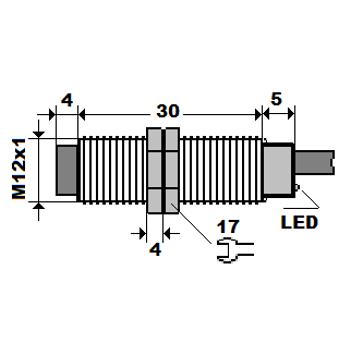ME4-S12K-PA M12 4mm PNP/NO Kýsa Gövdeli Ýndüktif Sensör MEFA