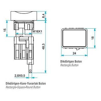 D200DDK 16mm 1NK Kontaklý Dikdörtgen Yaylý Stop Butonu EMAS