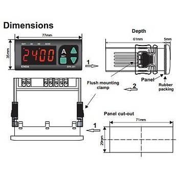 EPA241-S-230VAC x/5A Akým Trafolu Dijital AC/DC Ampermetre ENDA