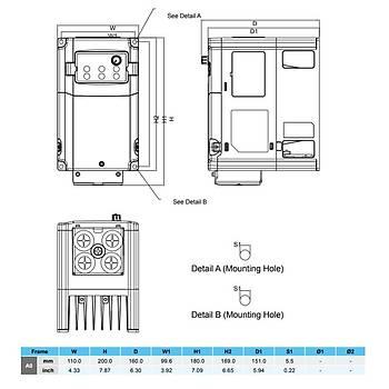 VFD007CB21A-21M 0,75 KW 1/3 Faz Hýz Kontrol Cihazý (Sürücü) DELTA