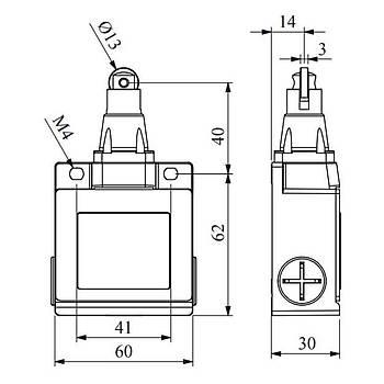 L53K13MUM331 14mm Metal Makaralý Limit Switch EMAS