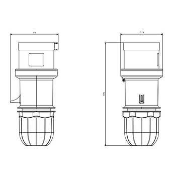 5x32A CEE Norm Trifaze Düz Fiþ 213.3237 SCAME
