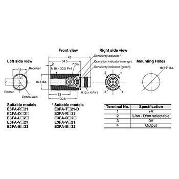 E3F1-RP21 M18 PNP 4m Reflektörlü M12 Konnektörlü Fotosel OMRON