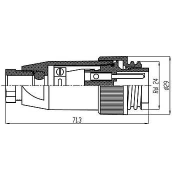 7 Pinli Seyyar Erkek Konnektör IP67 J10F-7A MAOJWEI