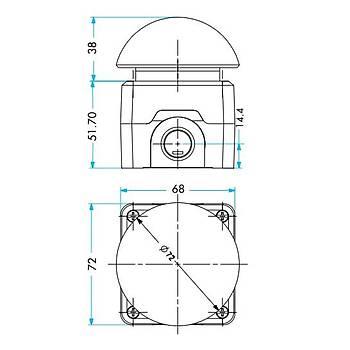 P1C400E-72 72mm Avuç Ýçi Kutulu Kalýcý Acil Stop Butonu EMAS