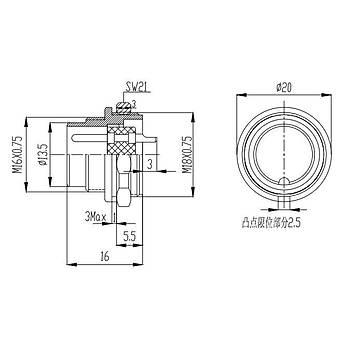 7 Pinli Makine Erkek Metal Konnektör J09-7B1 MAOJWEI