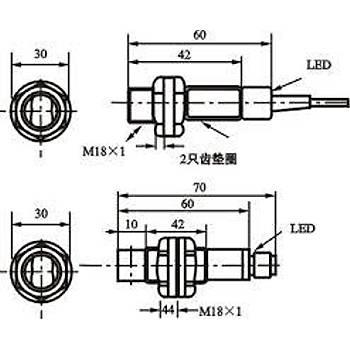 G18-3A40NC M18 40cm Cisimden Yansýmalý 10-30VDC NPN NO/NC 2mt Kablolu Fotosel Q&W