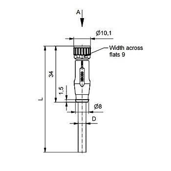 M8 4 Pinli 5m Kablolu Düz Konnektör 42-10034 CONEC