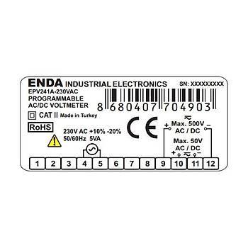 EPV241A-230VAC Dijital AC/DC Voltmetre ENDA