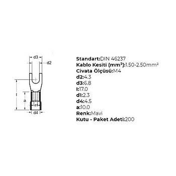 GÇU-4002 M4 Delikli 1,50-2,50mm² Kablo Pabucu (200 adet) GWEST