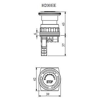 H200E-E 30mm 1NK Kontaklý Kafa Çapý:40mm Emergency Etiketli Kalýcý Mantar Acil Stop Butonu EMAS