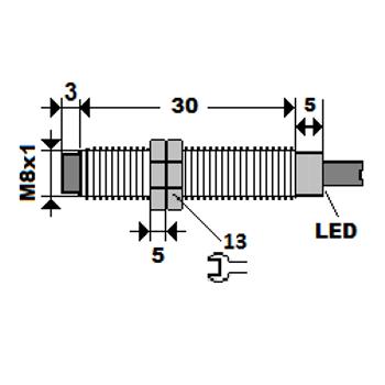 ME2-S8K-NA M8 2.5mm NPN/NO Kýsa Gövdeli Ýndüktif Sensör MEFA