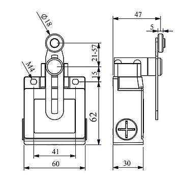 L53K13MEM123 18mm Metal Makaralý Ayarlanabilir Uzun Kollu Limit Switch EMAS