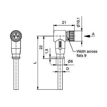 M8 3 Pinli 2m Kablolu 90 Derece Konnektör 42-10016 CONEC