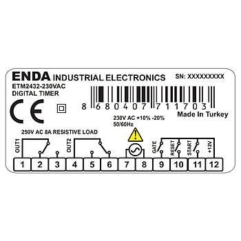 ETM2432-230VAC DÝjital Zaman Rölesi ENDA