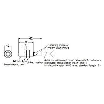 E2B-S08KS02-WP-B1 2M M8 PNP/NO 2mm Algýlama Ýndüktif Sensör OMRON
