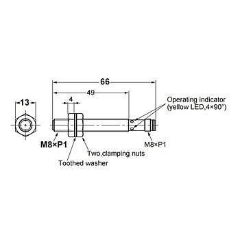 E2B-S08LS02-MC-B1 M8 PNP/NO 2mm Algýlama M8 Konnektörlü Ýndüktif Sensör OMRON