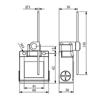 L53K13REM121 130mm Ayarlanabilir Metal Çubuk Kollu Limit Switch EMAS