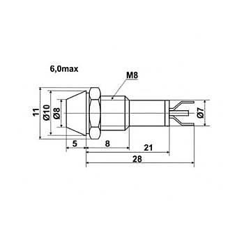 8mm 24V AC/DC Kýrmýzý Ledli Metal Sinyal Lambasý C8K GWEST