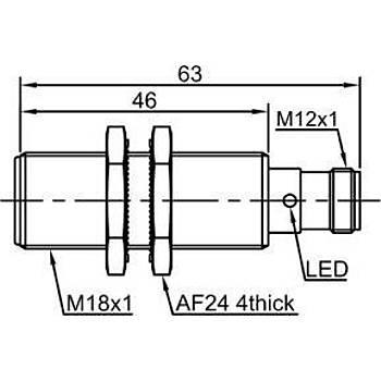 LR18TBF05DPO-E2 M18 PNP/NO 5mm Konnektörlü Ýndüktif Sensör Lanbao