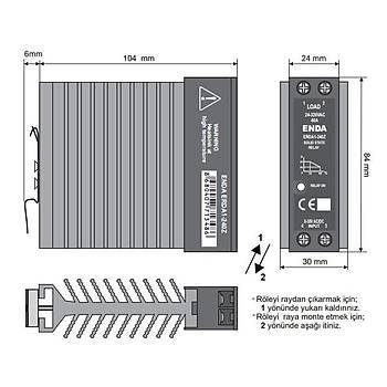 ERDA1-240Z 40A Ray Tipi Soðutuculu Monofaze Solid State Röle (SSR) ENDA