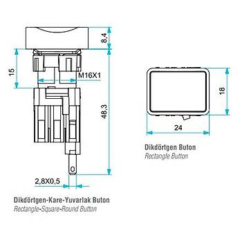 D100DDM 16mm 1NA Kontaklý Dikdörtgen Yaylý Start Butonu EMAS