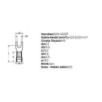 GÇU-6006 M6 Delikli 4-6mm² Kablo Pabucu (100 adet) GWEST