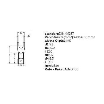 GÇU-5006 M5 Delikli 4-6mm² Kablo Pabucu (100 adet) GWEST
